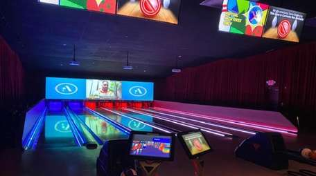 One of the bowling lanes at The All