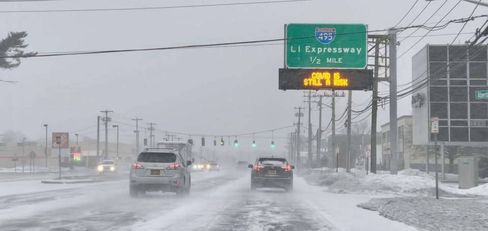 Cars travel eastbound on Jericho Turnpike on Thursday
