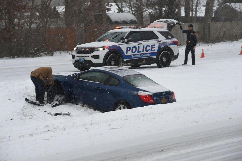 Motorist skidded off of William Floyd Parkway near
