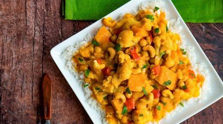 Coconut curry with Kabocha winter squash, cauliflower, chickpeas,
