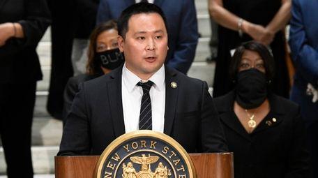 Assemblyman Ron Kim, D-Queens, speaks during a press