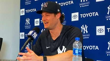 Yankees pitcher Gerrit Cole during a press conference