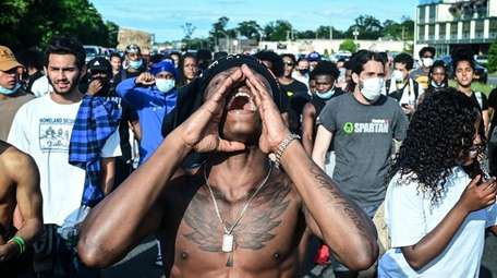 Black Lives Matter protesters gather during a peaceful