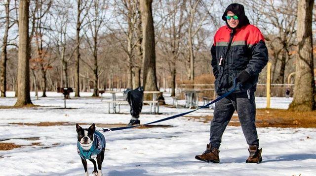 Ed Petersen of West Babylon walks his dog