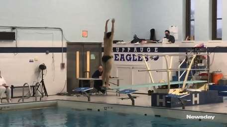 Alex Zhang of Harborfields won his third straight Suffolk diving