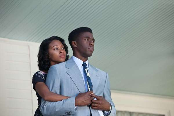 Nicole Beharie as Rachel Robinson and Chadwick Boseman