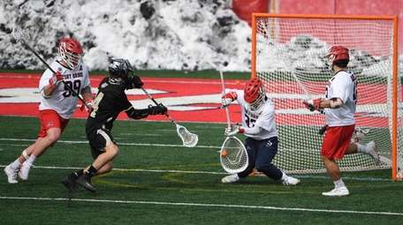 Stony Brook goalkeeper Anthony Palma makes a save