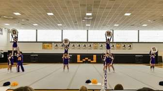 The Oyster Bay cheer team during a Nassau