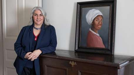 Claire Bellerjeau with a portrait of Elizabeth, called