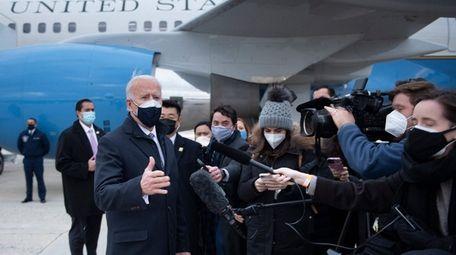 President Joe Biden speaks to reporters at Joint