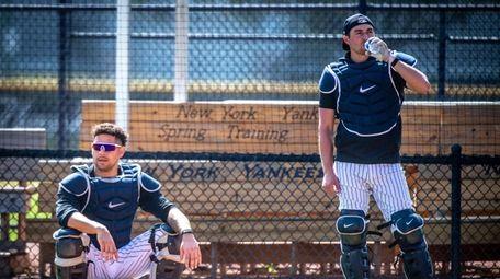 New York Yankees' Gary Sánchez and Kyle Higashioka