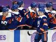 Jean-Gabriel Pageau of the New York Islanders celebrates