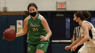 Demi Hecker of Farmingdale works the ball around