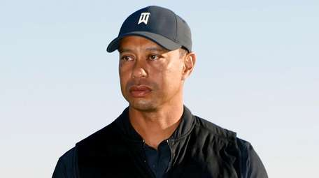 Tiger Woods during the trophy ceremony of the