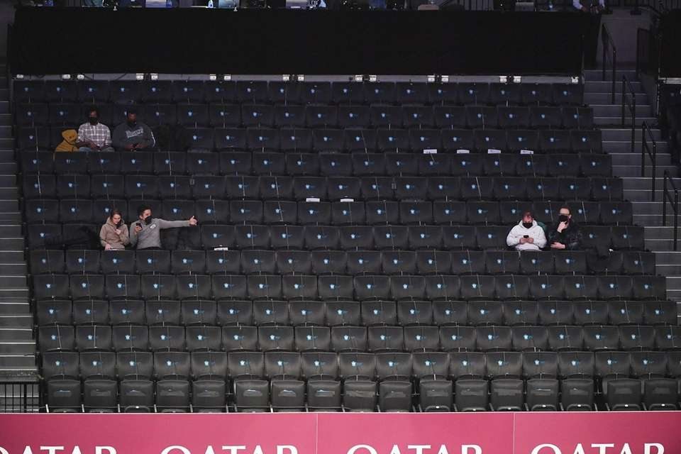 Fans are seen at Barclays Center before an