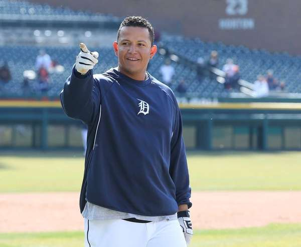Miguel Cabrera of the Detroit Tigers waves to