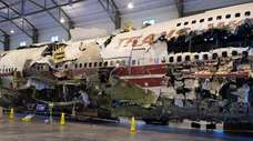 The reconstructed TWA Flight 800 747 has spent
