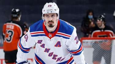 Chris Kreider of the Rangers looks on following