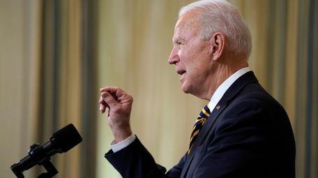 President Joe Biden speaks on U.S. supply chains,