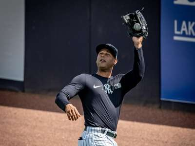 New York Yankees outfielder Aaron Hicks during fly