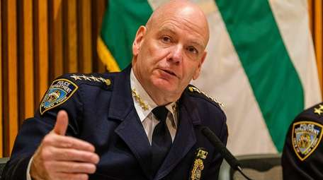 NYPD Chief Terence Monahan speaks during the monthly