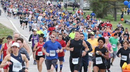 Participants run during the Long Island Marathon in