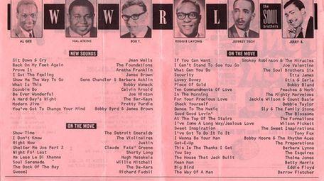 WWRL's Soul 16 Survey of Top Hits pamphlet