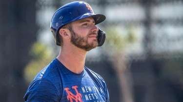 Mets first baseman Pete Alonso met the media
