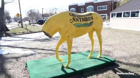 The yellow horse, a mascot outside The Greenhouse