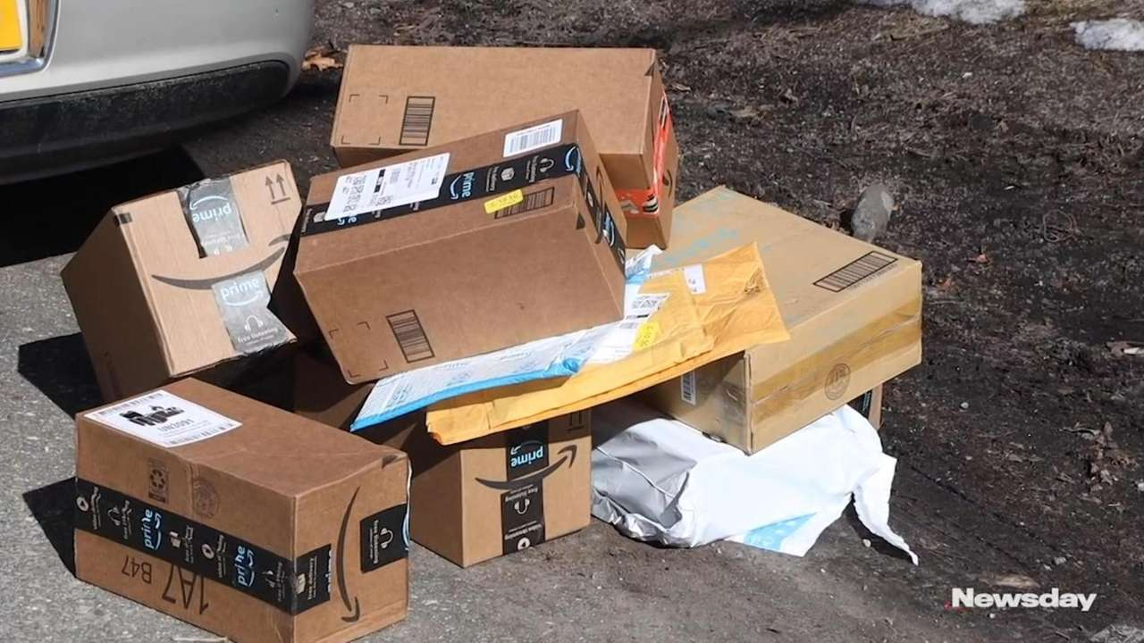 Kevin Harrington of Ronkonkoma earlier this week discovered 20 Amazon packages dumped
