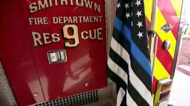 The thin blue line flag is shown on