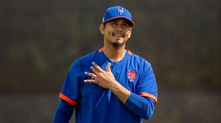 Mets pitcher Carlos Carrasco during a spring training