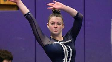 Payton Sacks of Plainview during her floor performance