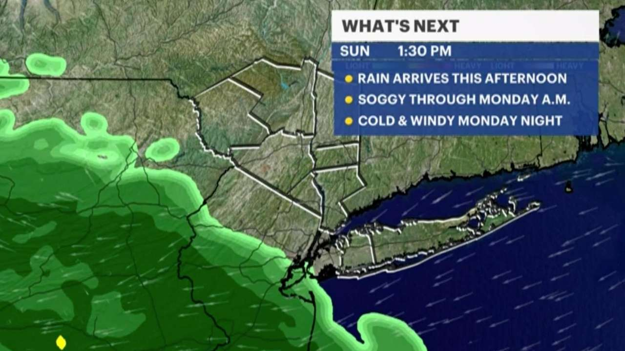 Long Island's wet, yet mild weekend continues today.Today