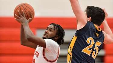 Dayrien Franklin of Center Moriches makes his way