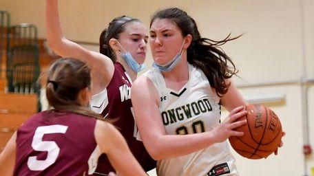 Rachel Mandaro of Longwood drives to the basket