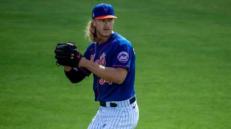 Mets pitcher Noah Syndergaard during a spring training