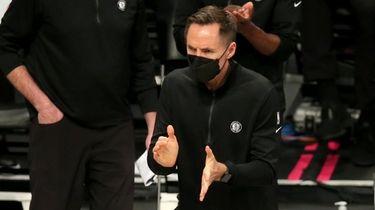 Nets head coach Steve Nash reacts during a