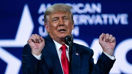 Former President Donald Trump speaks Sunday at the