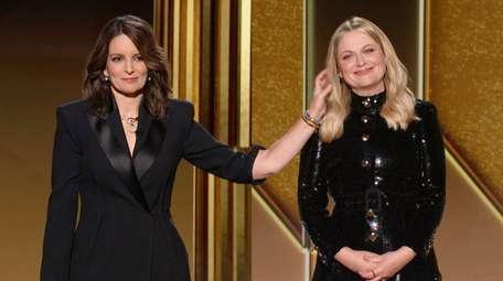 In this video grab, hosts Tina Fey, left,