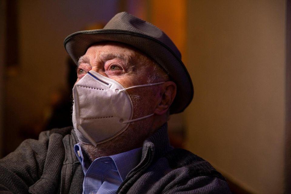 Holocaust survivor Jack Rybstein, 97, waits in the