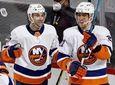 Anders Lee of the Islanders celebrates his game-winning