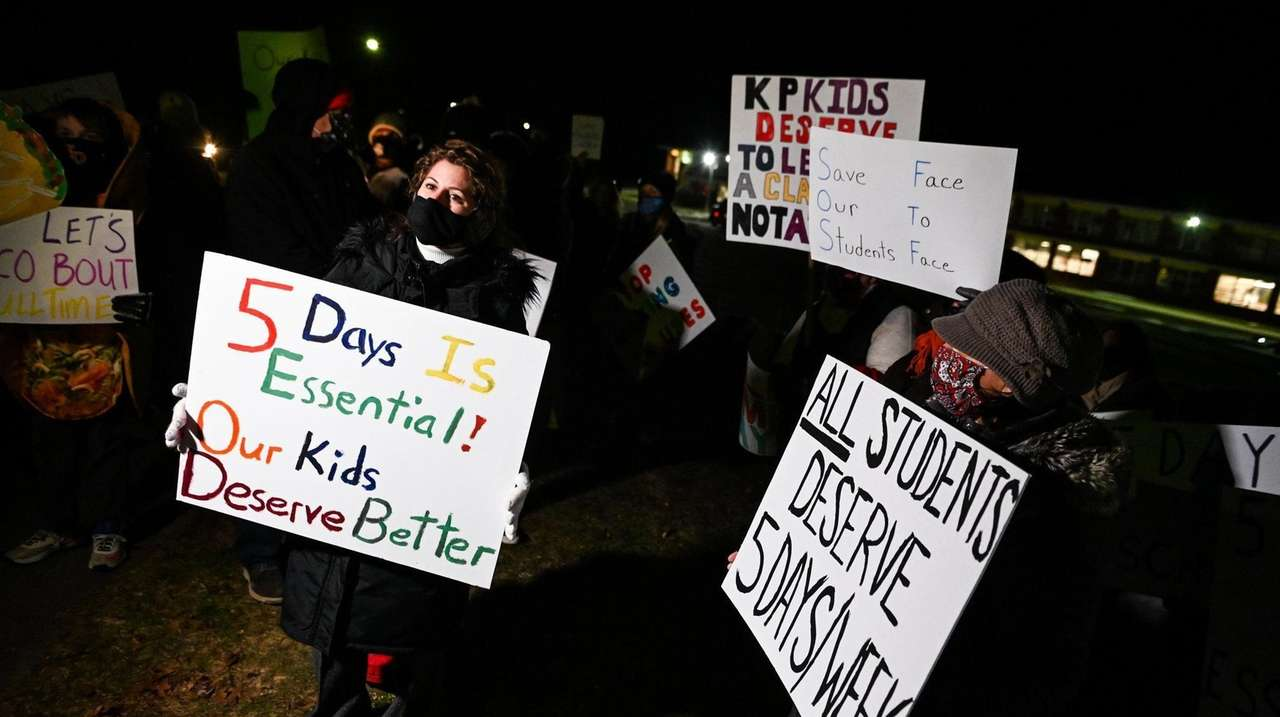 Parents in Kings Park protested on Tuesday, asking