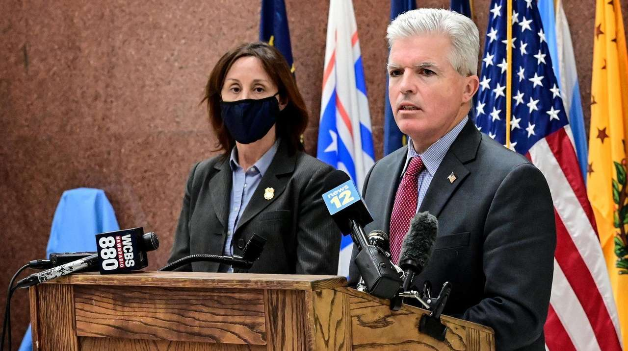 Suffolk County Executive Steve Bellone and Police Commissioner