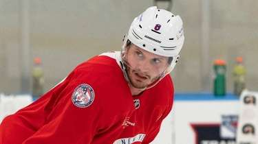 Jacob Trouba at Rangers practice on Jan. 15,