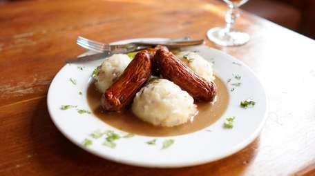 Bangers and mash with an Irish coffee at