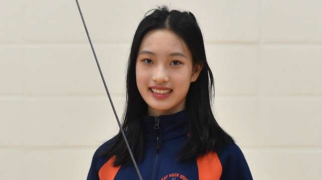 Mandy Li, Great Neck South fencer, poses for
