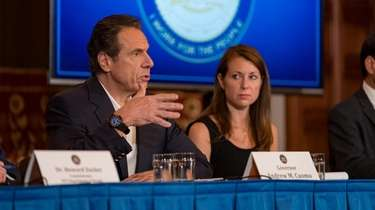 Gov. Andrew M. Cuomo speaks at a COVID-19