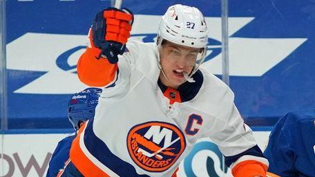 Anders Lee of the Islanders celebrates after scoring