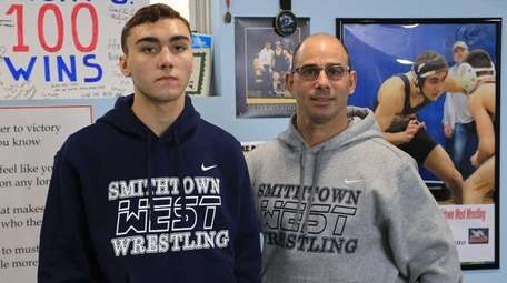 Nick Germano with his coach, Ken Leverich.